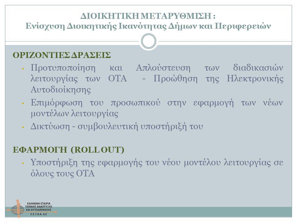 ΔΙΟΙΚΗΤΙΚΗ ΜΕΤΑΡΥΘΜΙΣΗ : Ενίσχυση Διοικητικής Ικανότητας Δήμων και Περιφερειών ΟΡΙΖΟΝΤΙΕΣ ΔΡΑΣΕΙΣ Προτυποποίηση και Απλούστευση των διαδικασιών λειτουργίας των ΟΤΑ - Προώθηση της Ηλεκτρονικής Αυτοδιοίκησης Επιμόρφωση του προσωπικού στην εφαρμογή των νέων μοντέλων λειτουργίας Δικτύωση - συμβουλευτική υποστήριξή του ΕΦΑΡΜΟΓΗ (ROLL OUT) Υποστήριξη της εφαρμογής του νέου μοντέλου λειτουργίας σε όλους τους ΟΤΑ