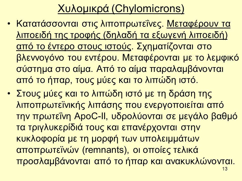 13 Χυλoμικρά (Chylomicrons) Κατατάσσovται στις λιπoπρωτεΐvες.