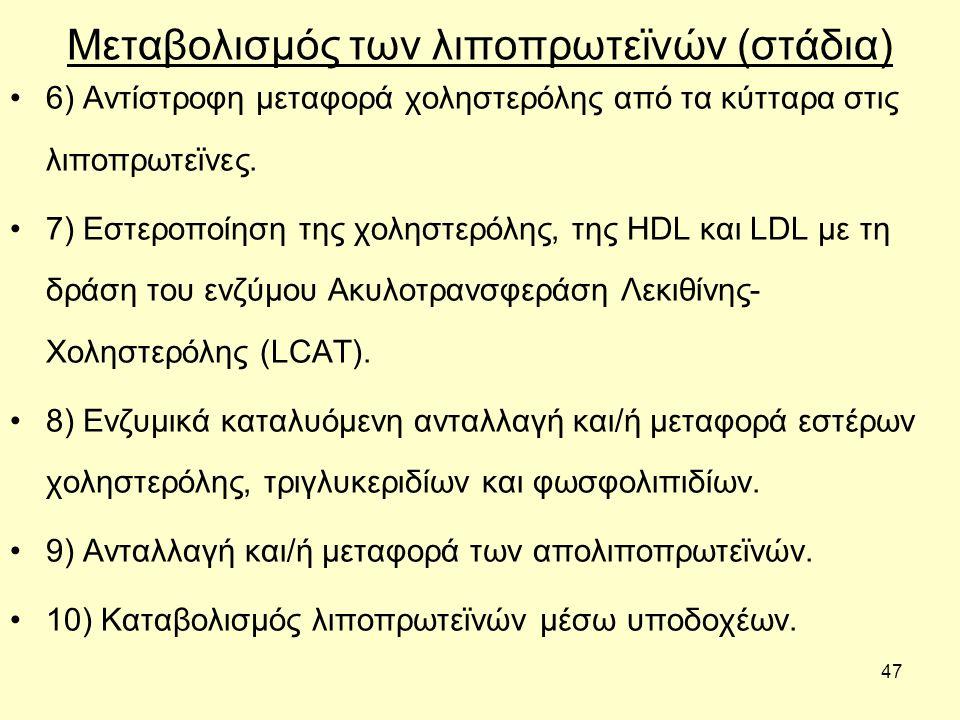47 Μεταβολισμός των λιποπρωτεϊνών (στάδια) 6) Αντίστροφη µεταφορά χοληστερόλης από τα κύτταρα στις λιποπρωτεϊνες.