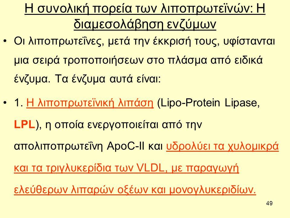 49 Η συνολική πορεία των λιποπρωτεϊνών: H διαμεσολάβηση ενζύμων Οι λιποπρωτεΐνες, µετά την έκκρισή τους, υφίστανται µια σειρά τροποποιήσεων στο πλάσµα από ειδικά ένζυµα.
