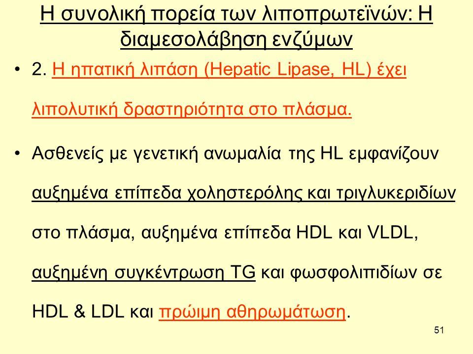 51 Η συνολική πορεία των λιποπρωτεϊνών: H διαμεσολάβηση ενζύμων 2.