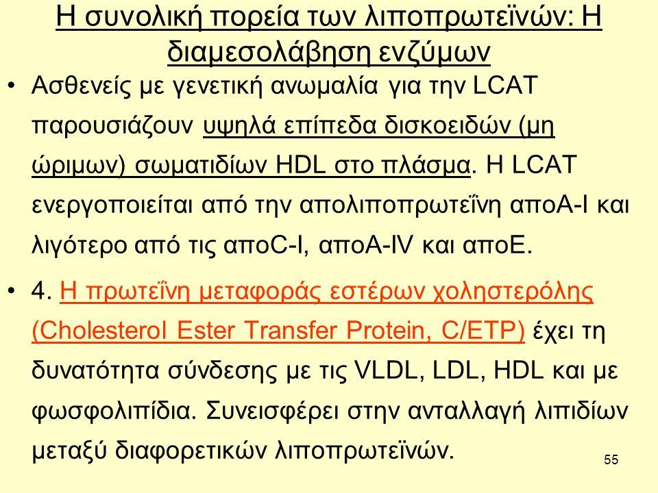 55 Η συνολική πορεία των λιποπρωτεϊνών: H διαμεσολάβηση ενζύμων Ασθενείς µε γενετική ανωµαλία για την LCAT παρουσιάζουν υψηλά επίπεδα δισκοειδών (μη ώριμων) σωµατιδίων HDL στο πλάσµα.