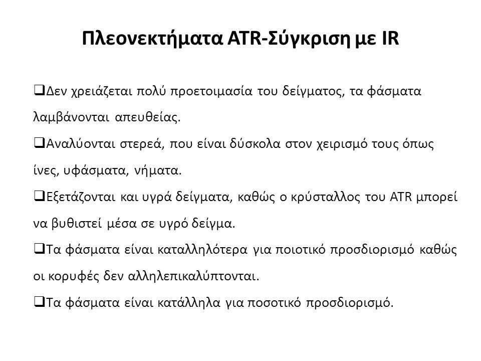 Πλεονεκτήματα ATR-Σύγκριση με IR  Δεν χρειάζεται πολύ προετοιμασία του δείγματος, τα φάσματα λαμβάνονται απευθείας.