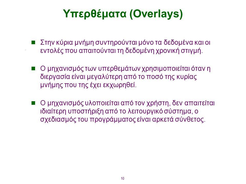 10 Υπερθέματα (Overlays) Στην κύρια μνήμη συντηρούνται μόνο τα δεδομένα και οι εντολές που απαιτούνται τη δεδομένη χρονική στιγμή. Ο μηχανισμός των υπ