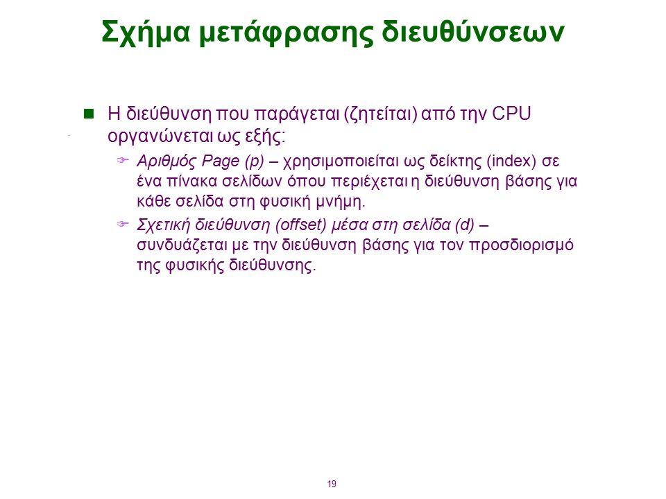 19 Σχήμα μετάφρασης διευθύνσεων Η διεύθυνση που παράγεται (ζητείται) από την CPU οργανώνεται ως εξής:  Αριθμός Page (p) – χρησιμοποιείται ως δείκτης