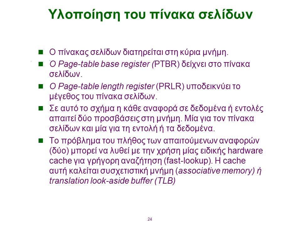 24 Υλοποίηση του πίνακα σελίδων Ο πίνακας σελίδων διατηρείται στη κύρια μνήμη. Ο Page-table base register (PTBR) δείχνει στο πίνακα σελίδων. Ο Page-ta