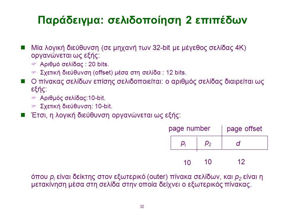 32 Παράδειγμα: σελιδοποίηση 2 επιπέδων Μία λογική διεύθυνση (σε μηχανή των 32-bit με μέγεθος σελίδας 4K) οργανώνεται ως εξής:  Αριθμό σελίδας : 20 bits.