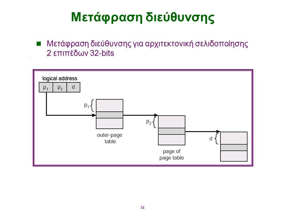 34 Μετάφραση διεύθυνσης Μετάφραση διεύθυνσης για αρχιτεκτονική σελιδοποίησης 2 επιπέδων 32-bits