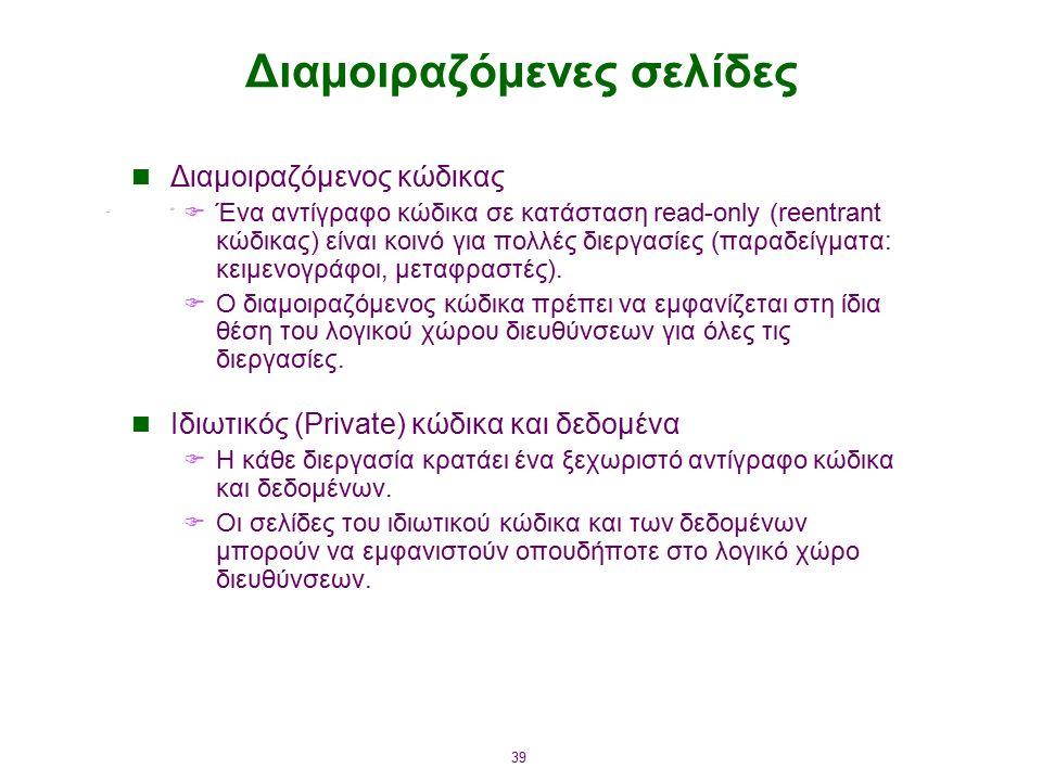 39 Διαμοιραζόμενες σελίδες Διαμοιραζόμενος κώδικας  Ένα αντίγραφο κώδικα σε κατάσταση read-only (reentrant κώδικας) είναι κοινό για πολλές διεργασίες (παραδείγματα: κειμενογράφοι, μεταφραστές).
