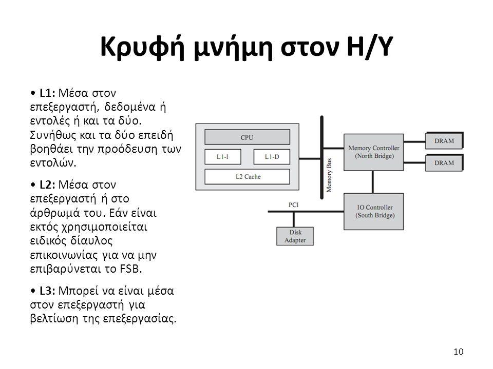 L1: Μέσα στον επεξεργαστή, δεδομένα ή εντολές ή και τα δύο. Συνήθως και τα δύο επειδή βοηθάει την προόδευση των εντολών. L2: Μέσα στον επεξεργαστή ή σ
