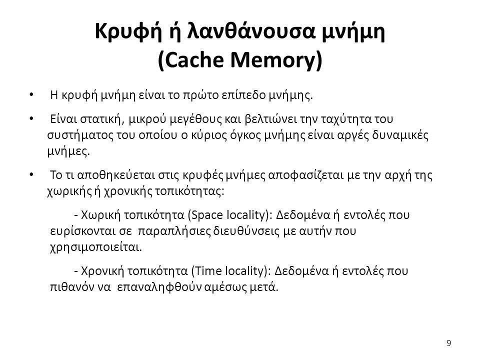 Κρυφή ή λανθάνουσα μνήμη (Cache Memory) Η κρυφή μνήμη είναι το πρώτο επίπεδο μνήμης. Είναι στατική, μικρού μεγέθους και βελτιώνει την ταχύτητα του συσ
