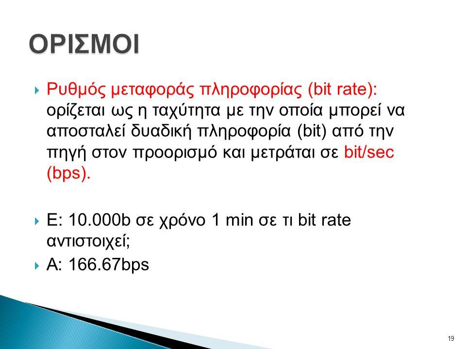  Ρυθμός μεταφοράς πληροφορίας (bit rate): ορίζεται ως η ταχύτητα με την οποία μπορεί να αποσταλεί δυαδική πληροφορία (bit) από την πηγή στον προορισμό και μετράται σε bit/sec (bps).