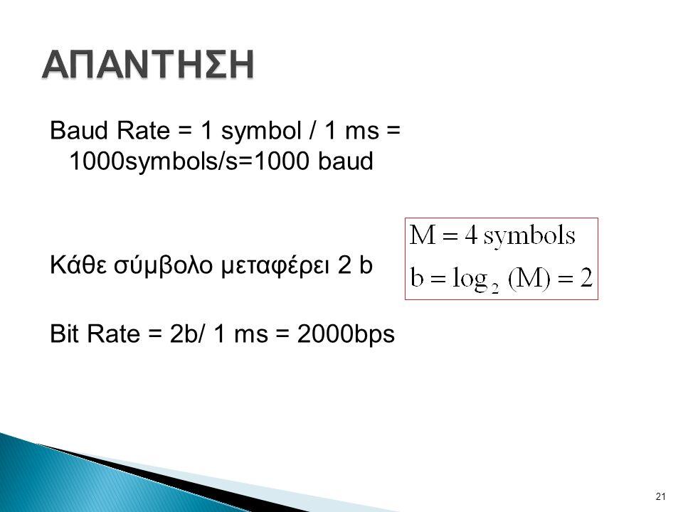 Baud Rate = 1 symbol / 1 ms = 1000symbols/s=1000 baud Κάθε σύμβολο μεταφέρει 2 b Bit Rate = 2b/ 1 ms = 2000bps 21