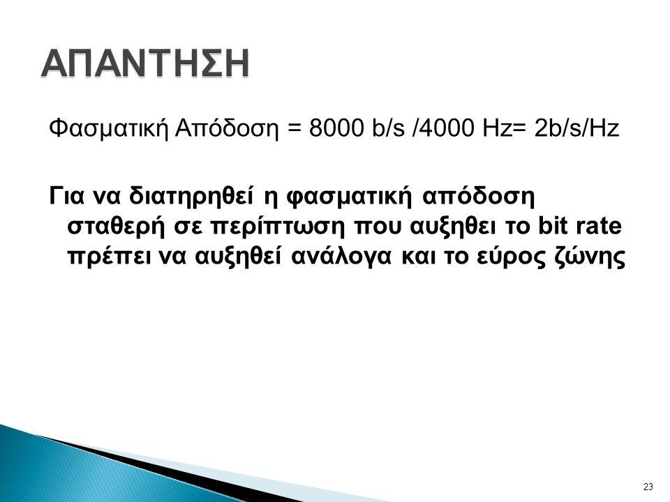 Φασματική Απόδοση = 8000 b/s /4000 Hz= 2b/s/Hz Για να διατηρηθεί η φασματική απόδοση σταθερή σε περίπτωση που αυξηθει το bit rate πρέπει να αυξηθεί ανάλογα και το εύρος ζώνης 23
