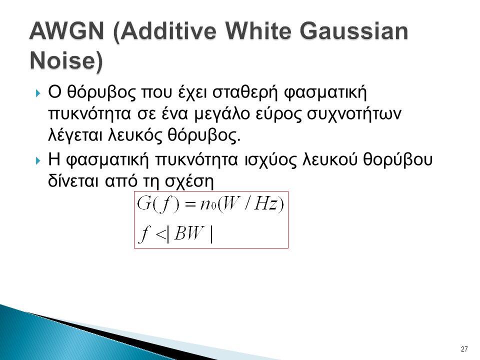  Ο θόρυβος που έχει σταθερή φασματική πυκνότητα σε ένα μεγάλο εύρος συχνοτήτων λέγεται λευκός θόρυβος.