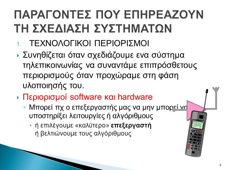 1. ΤΕΧΝΟΛΟΓΙΚΟΙ ΠΕΡΙΟΡΙΣΜΟΙ  Συνηθίζεται όταν σχεδιάζουμε ενα σύστημα τηλεπικοινωνίας να συναντάμε επιπρόσθετους περιορισμούς όταν προχώραμε στη φάση