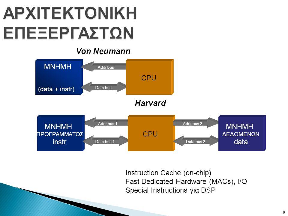 Addr bus 1 ΑΡΧΙΤΕΚΤΟΝΙΚΗ ΕΠΕΞΕΡΓΑΣΤΩΝ ΜΝΗΜΗ (data + instr) Data bus Addr bus CPU ΜΝΗΜΗ ΠΡΟΓΡΑΜΜΑΤΟΣ instr Data bus 1 CPU Addr bus 2 Data bus 2 ΜΝΗΜΗ ΔΕΔΟΜΕΝΩΝ data Von Neumann Harvard Instruction Cache (on-chip) Fast Dedicated Hardware (MACs), I/O Special Instructions για DSP 8