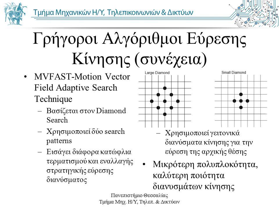 Πανεπιστήμιο Θεσσαλίας Τμήμα Μηχ. Η/Υ, Τηλεπ. & Δικτύων Γρήγοροι Αλγόριθμοι Εύρεσης Κίνησης (συνέχεια) MVFAST-Motion Vector Field Adaptive Search Tech