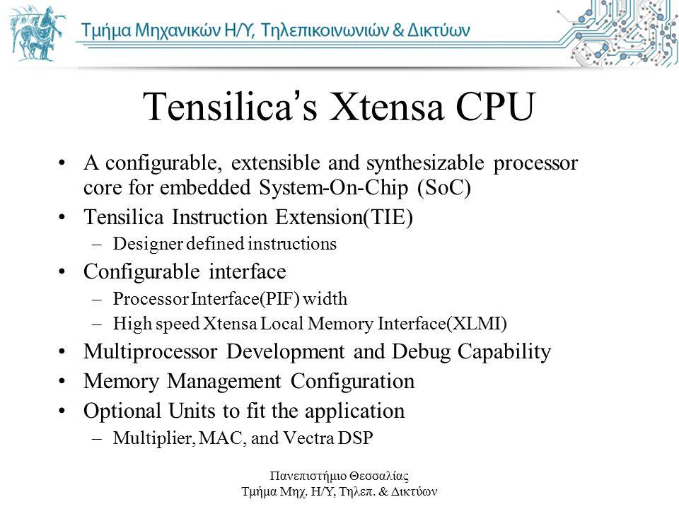 Πανεπιστήμιο Θεσσαλίας Τμήμα Μηχ. Η/Υ, Τηλεπ. & Δικτύων Tensilica's Xtensa CPU A configurable, extensible and synthesizable processor core for embedde