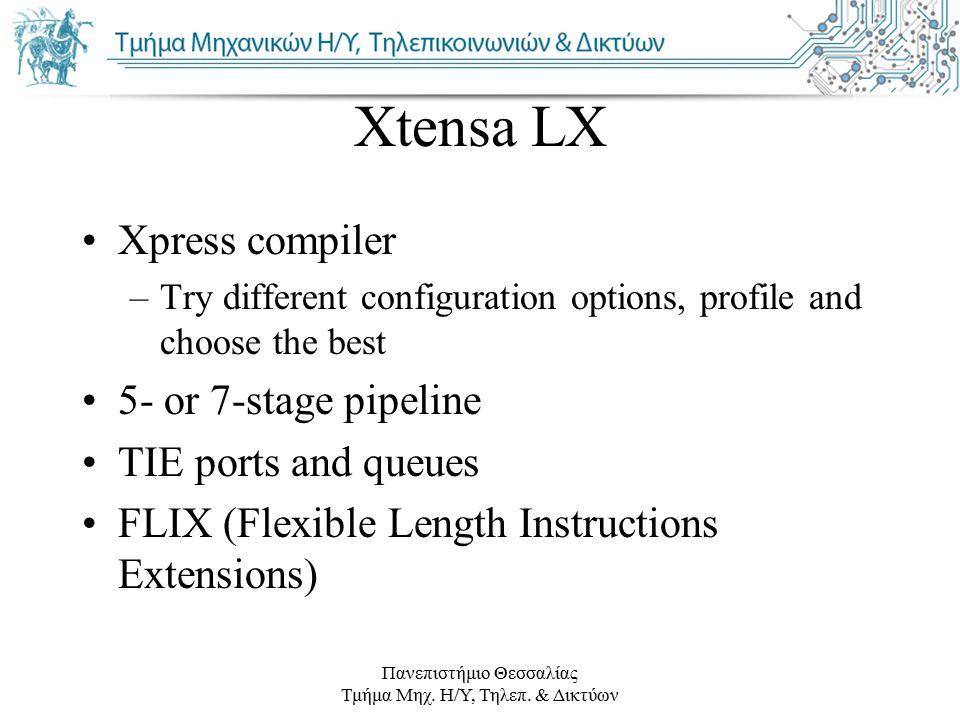 Πανεπιστήμιο Θεσσαλίας Τμήμα Μηχ. Η/Υ, Τηλεπ. & Δικτύων Xtensa LX Xpress compiler –Try different configuration options, profile and choose the best 5-