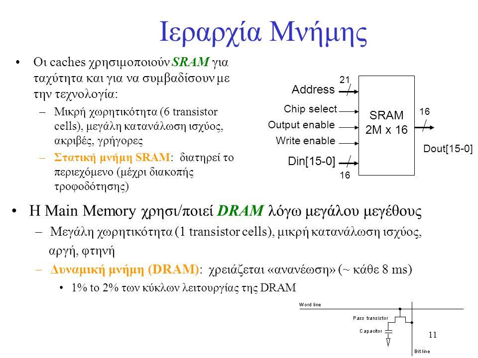 11 Ιεραρχία Μνήμης Οι caches χρησιμοποιούν SRAM για ταχύτητα και για να συμβαδίσουν με την τεχνολογία: –Μικρή χωρητικότητα (6 transistor cells), μεγάλ