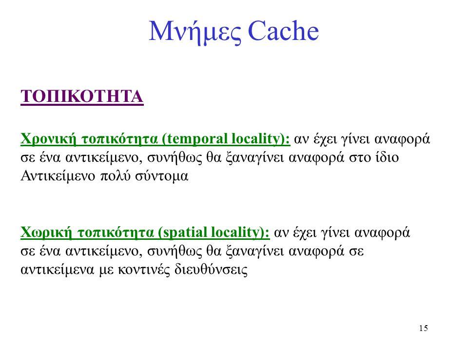 15 Μνήμες Cache ΤΟΠΙΚΟΤΗΤΑ Χρονική τοπικότητα (temporal locality): αν έχει γίνει αναφορά σε ένα αντικείμενο, συνήθως θα ξαναγίνει αναφορά στο ίδιο Αντ