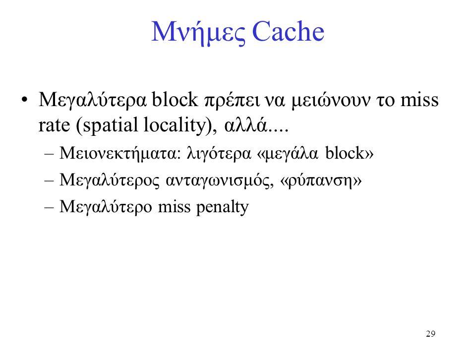 29 Μεγαλύτερα block πρέπει να μειώνουν το miss rate (spatial locality), αλλά.... –Μειονεκτήματα: λιγότερα «μεγάλα block» –Μεγαλύτερος ανταγωνισμός, «ρ
