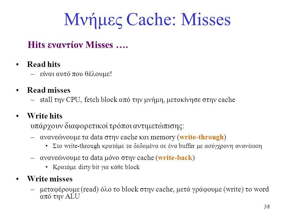 38 Μνήμες Cache: Misses Hits εναντίον Misses …. Read hits –είναι αυτό που θέλουμε! Read misses –stall την CPU, fetch block από την μνήμη, μετακίνησε σ