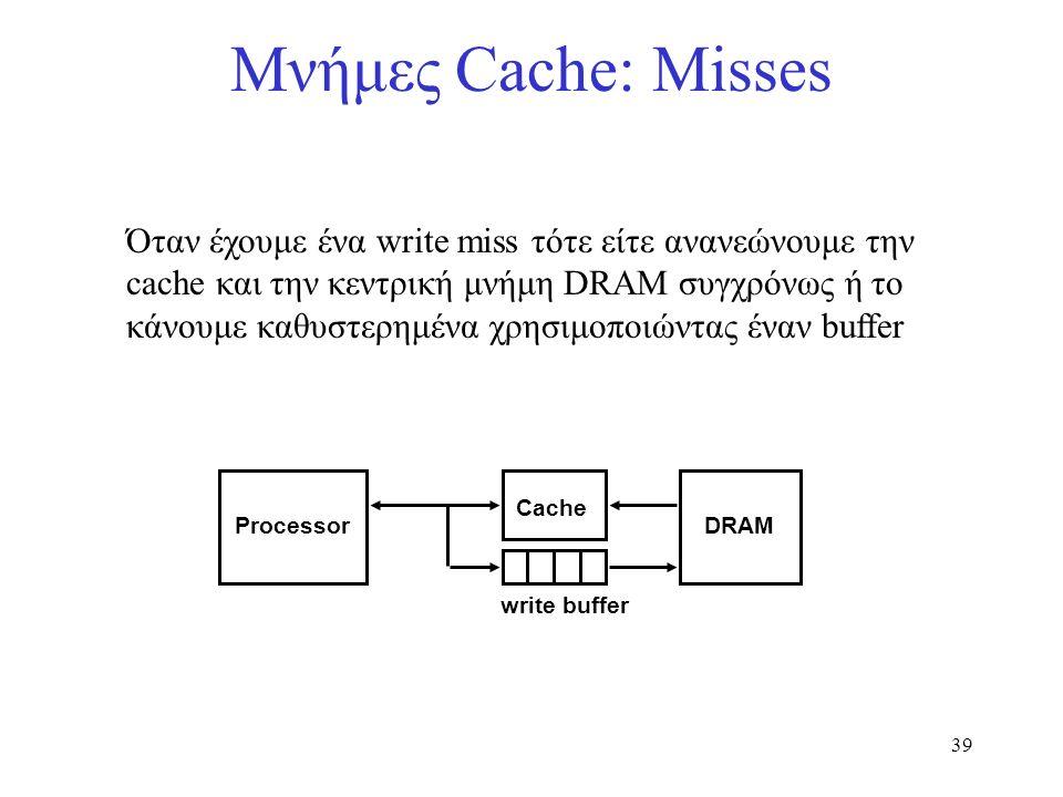 39 Μνήμες Cache: Misses Όταν έχουμε ένα write miss τότε είτε ανανεώνουμε την cache και την κεντρική μνήμη DRAM συγχρόνως ή το κάνουμε καθυστερημένα χρ