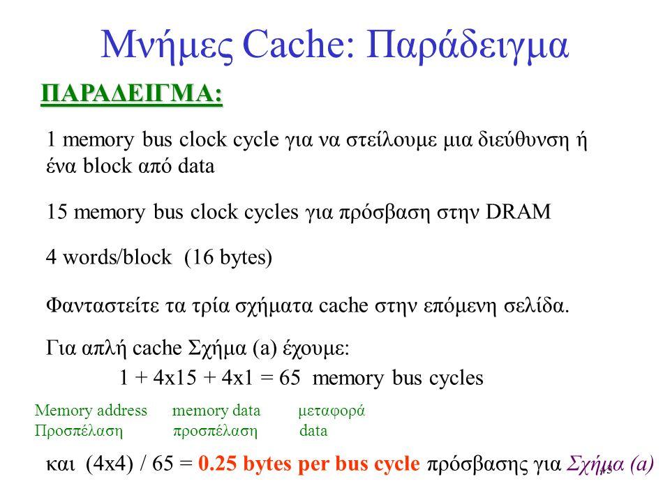 43 Μνήμες Cache: ΠαράδειγμαΠΑΡΑΔΕΙΓΜΑ: 1 memory bus clock cycle για να στείλουμε μια διεύθυνση ή ένα block από data 15 memory bus clock cycles για πρό
