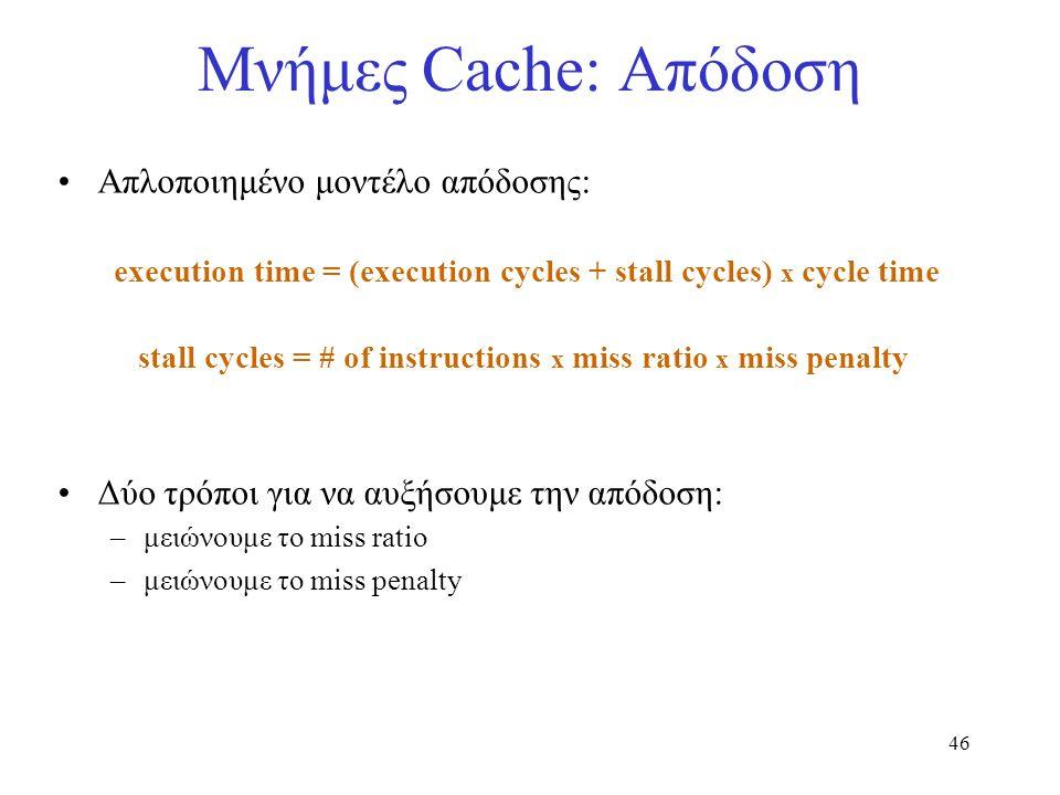 46 Μνήμες Cache: Απόδοση Απλοποιημένο μοντέλο απόδοσης: execution time = (execution cycles + stall cycles) x cycle time stall cycles = # of instructio