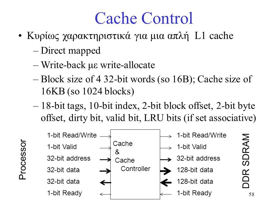 58 Cache Control Κυρίως χαρακτηριστικά για μια απλή L1 cache –Direct mapped –Write-back με write-allocate –Block size of 4 32-bit words (so 16B); Cach