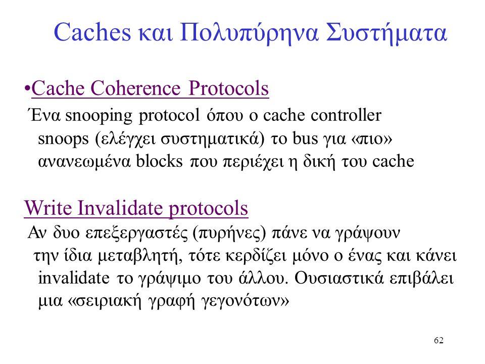 62 Caches και Πολυπύρηνα Συστήματα Cache Coherence Protocols Ένα snooping protocol όπου ο cache controller snoops (ελέγχει συστηματικά) το bus για «πι