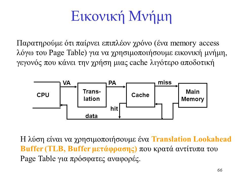 66 Εικονική Μνήμη Παρατηρούμε ότι παίρνει επιπλέον χρόνο (ένα memory access λόγω του Page Table) για να χρησιμοποιήσουμε εικονική μνήμη, γεγονός που κ