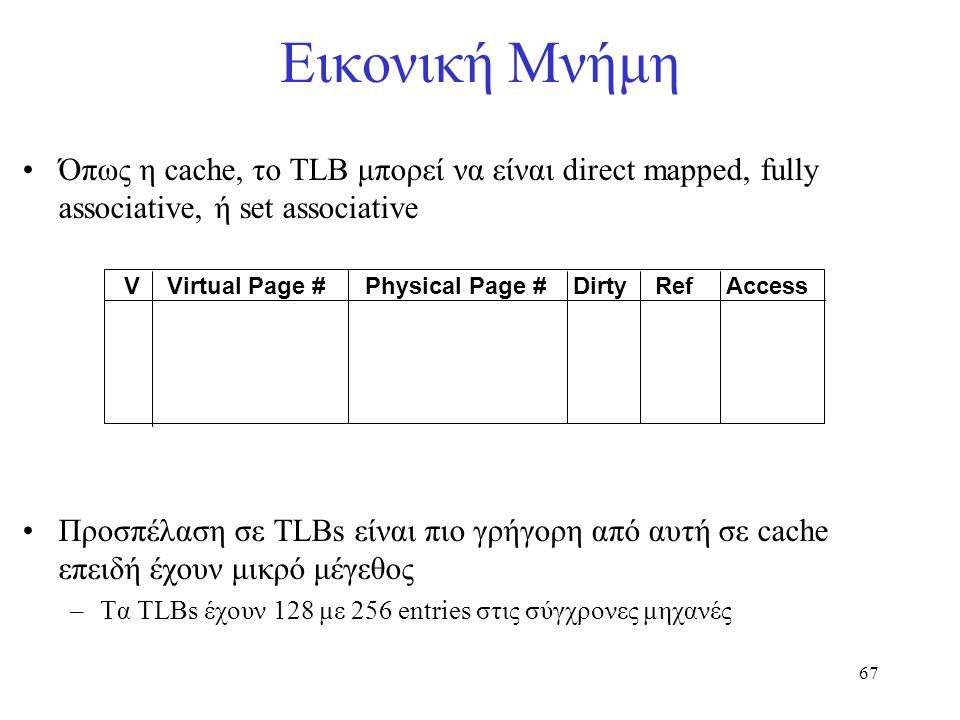 67 Εικονική Μνήμη Όπως η cache, το TLB μπορεί να είναι direct mapped, fully associative, ή set associative Προσπέλαση σε TLBs είναι πιο γρήγορη από αυ