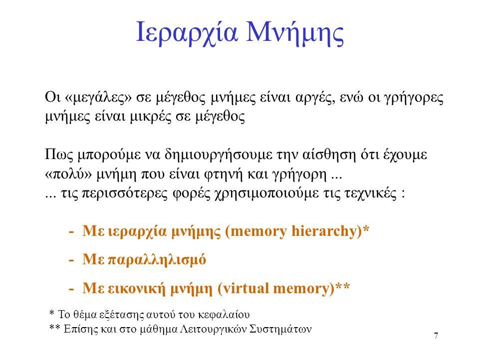 7 Ιεραρχία Μνήμης Οι «μεγάλες» σε μέγεθος μνήμες είναι αργές, ενώ οι γρήγορες μνήμες είναι μικρές σε μέγεθος Πως μπορούμε να δημιουργήσουμε την αίσθησ