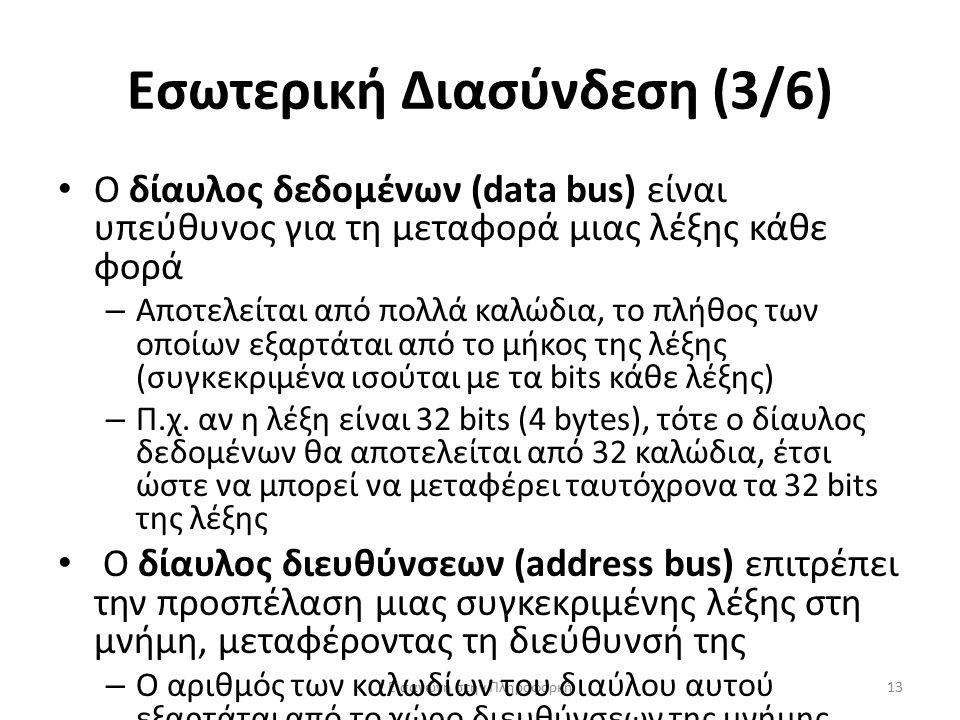 Εσωτερική Διασύνδεση (3/6) Εισαγωγή στην Πληροφορκή13 Ο δίαυλος δεδομένων (data bus) είναι υπεύθυνος για τη μεταφορά μιας λέξης κάθε φορά – Αποτελείται από πολλά καλώδια, το πλήθος των οποίων εξαρτάται από το μήκος της λέξης (συγκεκριμένα ισούται με τα bits κάθε λέξης) – Π.χ.