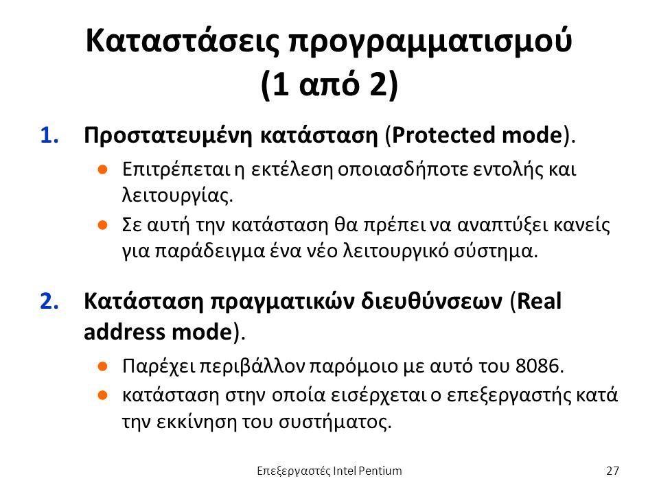 Καταστάσεις προγραμματισμού (1 από 2) 1.Προστατευμένη κατάσταση (Protected mode).