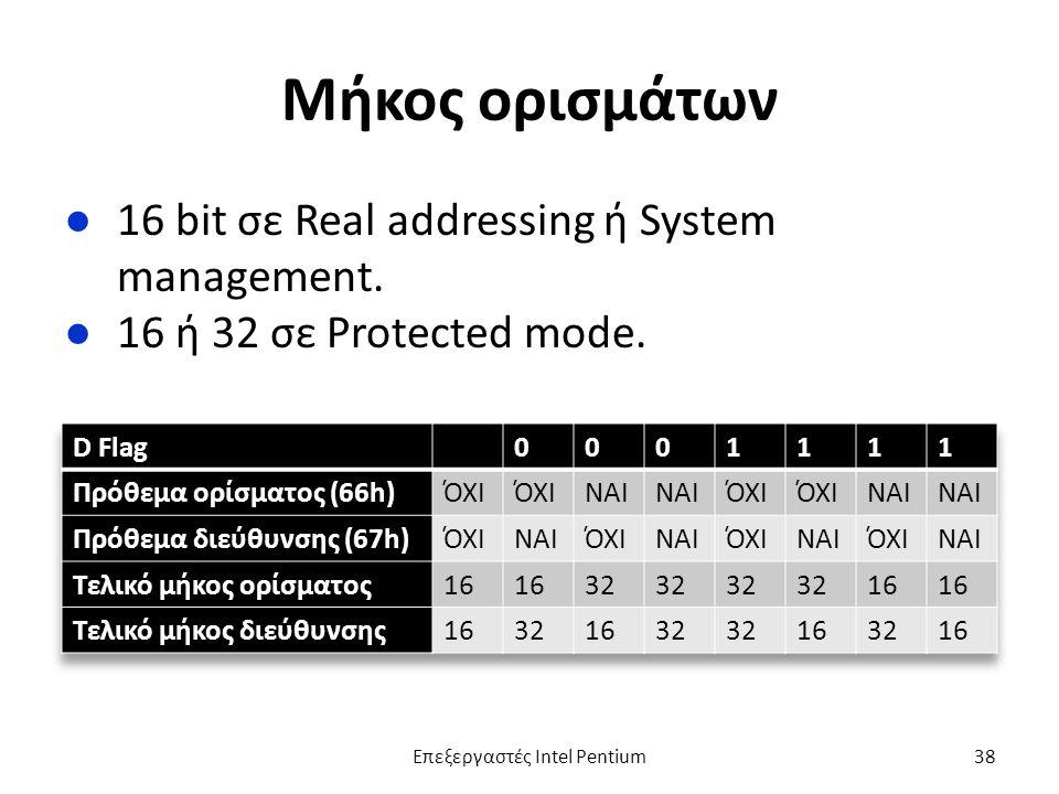 Μήκος ορισμάτων ●16 bit σε Real addressing ή System management.