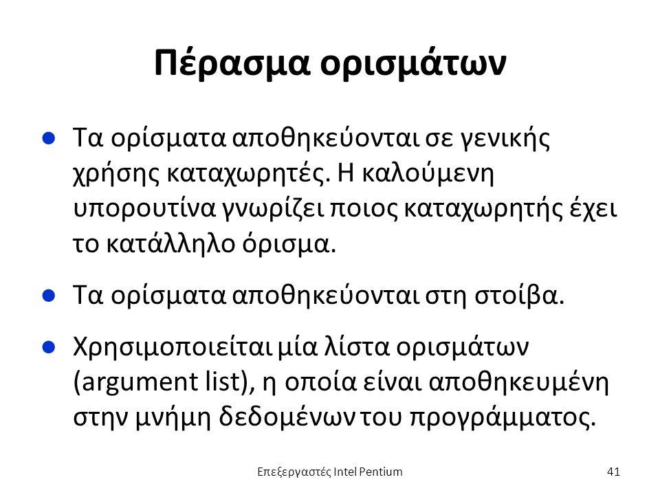 Πέρασμα ορισμάτων ●Τα ορίσματα αποθηκεύονται σε γενικής χρήσης καταχωρητές.