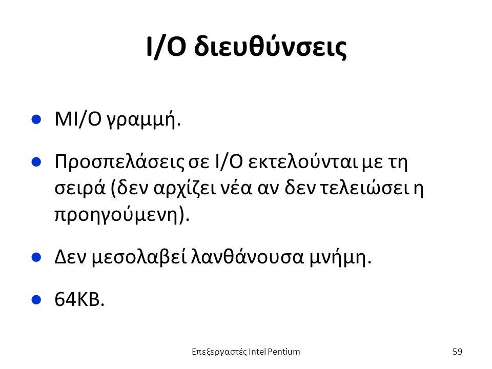 I/O διευθύνσεις ●ΜΙ/Ο γραμμή.