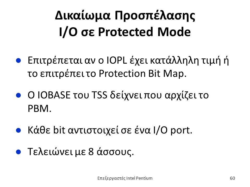 Δικαίωμα Προσπέλασης Ι/Ο σε Protected Mode ●Επιτρέπεται αν ο IOPL έχει κατάλληλη τιμή ή το επιτρέπει το Protection Bit Map.