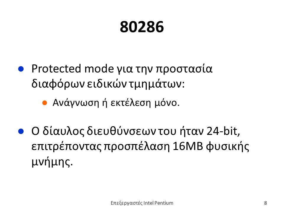 80286 ●Protected mode για την προστασία διαφόρων ειδικών τμημάτων: ●Ανάγνωση ή εκτέλεση μόνο.