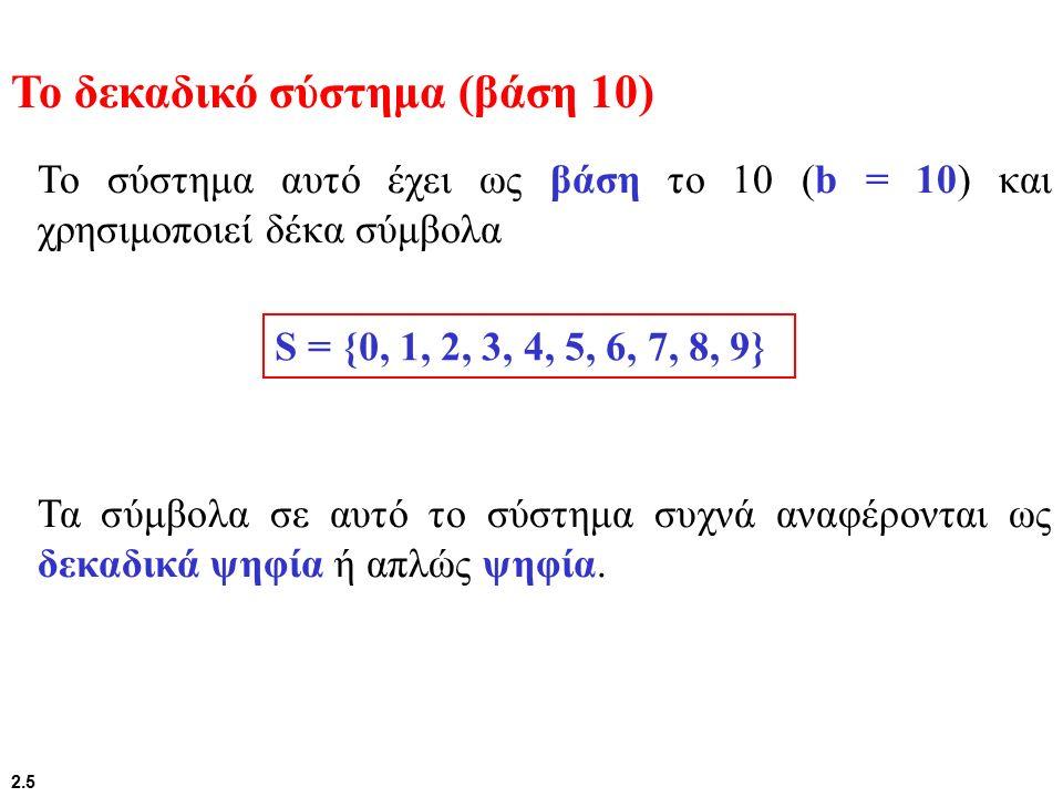 2.10 Σε αυτό το σύστημα η βάση είναι το 2 (b = 2), και χρησιμοποιούνται μόνο δύο σύμβολα, Το δυαδικό σύστημα (βάση 2) S = {0, 1} Τα σύμβολα σε αυτό το