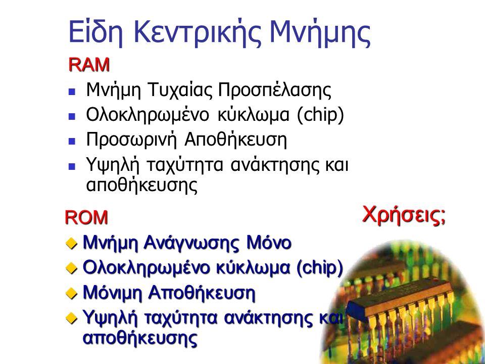 Η Μητρική Κάρτα- Motherboard Πλαίσιο με ηλεκτρονικά κυκλώματα Παρέχει επικοινωνία μεταξύ: Επεξεργαστή Μνήμη (RAM & ROM) Κάρτες Επέκτασης Διάδρομο Μετα