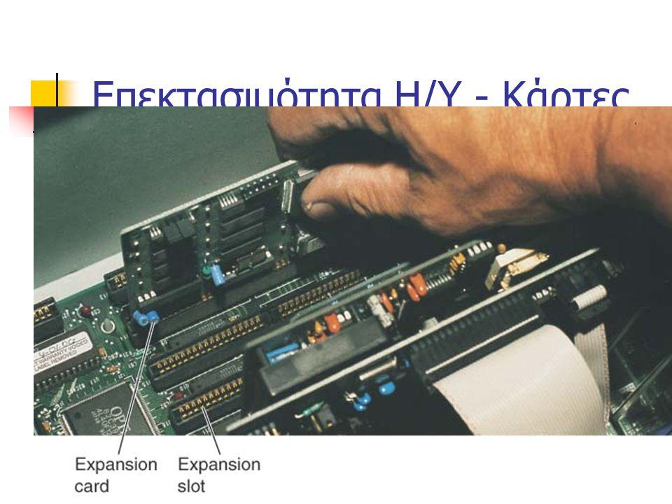 Είδη Κεντρικής Μνήμης RAM Μνήμη Τυχαίας Προσπέλασης Ολοκληρωμένο κύκλωμα (chip) Προσωρινή Αποθήκευση Υψηλή ταχύτητα ανάκτησης και αποθήκευσης ROM  Μν