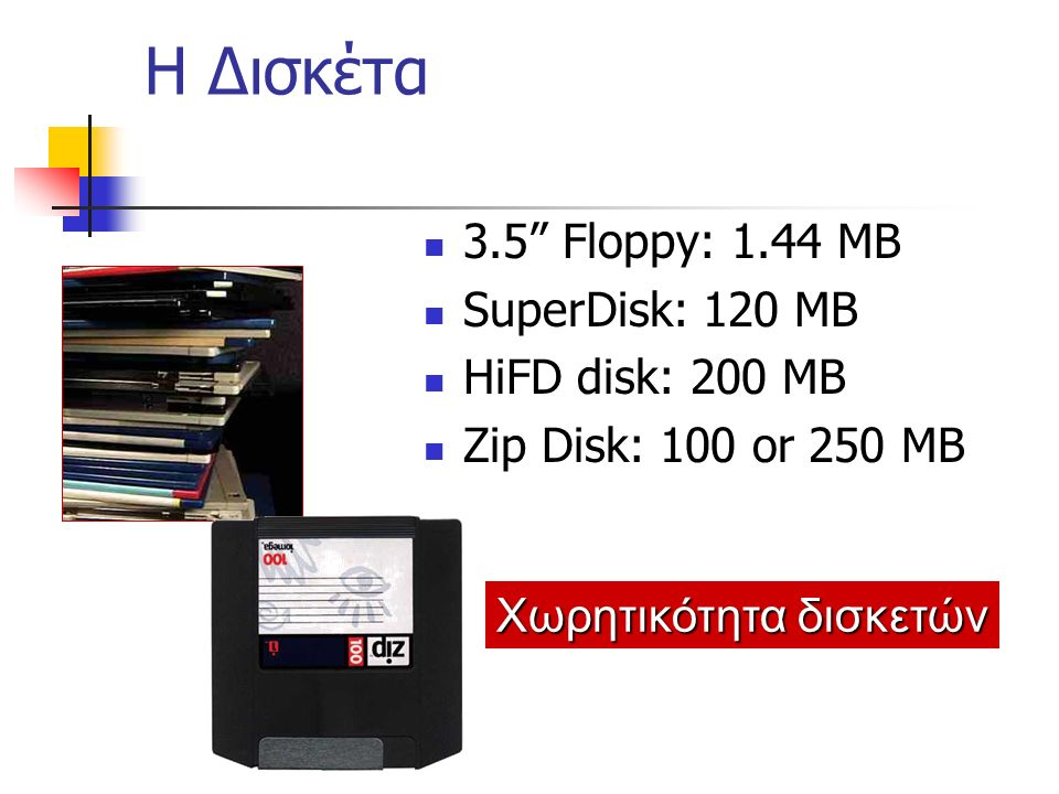 E: CD-ROM drive A: Floppy drive D: Zip drive System Unit Συνήθης Μονάδες Αποθήκευσης C: Hard drive Courtesy of Imation Corporation