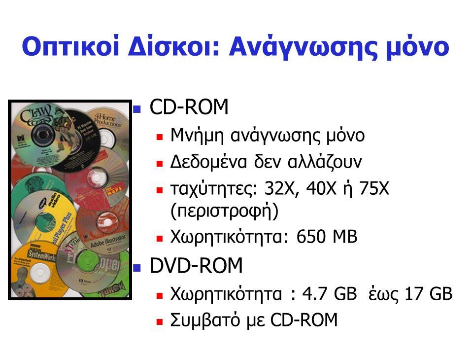 Οπτικοί Δίσκοι Οι οπτικοί δίσκοι (Compact Disk) είναι τα τελευταία χρόνια το πιο διαδεδομένο μέσο αποθήκευσης μεγάλου όγκου ψηφιακών δεδομένων, ειδικά