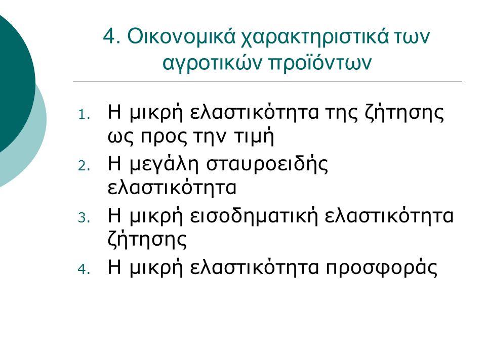 4. Οικονομικά χαρακτηριστικά των αγροτικών προϊόντων 1. Η μικρή ελαστικότητα της ζήτησης ως προς την τιμή 2. Η μεγάλη σταυροειδής ελαστικότητα 3. Η μι