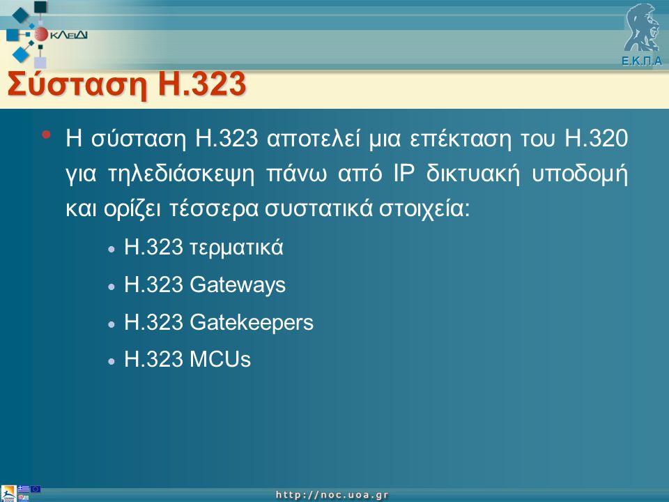 Ε.Κ.Π.Α Σύσταση Η.323 H σύσταση Η.323 αποτελεί μια επέκταση του Η.320 για τηλεδιάσκεψη πάνω από IP δικτυακή υποδομή και ορίζει τέσσερα συστατικά στοιχεία:  Η.323 τερματικά  Η.323 Gateways  H.323 Gatekeepers  H.323 MCUs